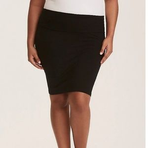 Torrid Black Knit Foldover Pencil Skirt Size 1